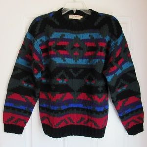 Vtg LL BEAN Thick Heavy Wool Aztec Sweater Small